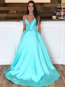A-Line Spaghetti Straps V-Neck Long Prom Dresses Formal Evening Gowns with Pockets 99501848