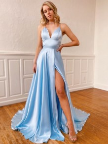 A-Line Spaghetti Straps V-Neck Long Prom Dresses Formal Evening Gowns with Pockets 99501849