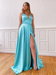 A-Line Spaghetti Straps V-Neck Long Prom Dresses Formal Evening Gowns with Pockets 99501850
