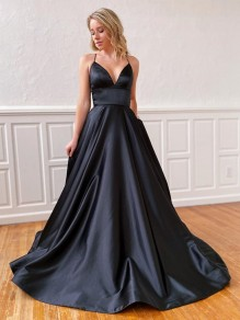 A-Line Spaghetti Straps V-Neck Long Black Prom Dresses Formal Evening Gowns 99501852