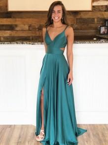A-Line V-Neck Long Prom Dresses Formal Evening Gowns 99501853