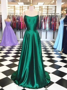 A-Line Spaghetti Straps Long Prom Dresses Formal Evening Gowns 99501855