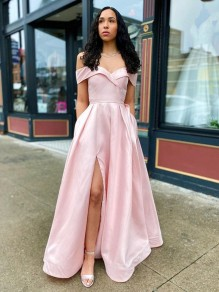 A-Line Off-the-Shoulder Long Prom Dresses Formal Evening Gowns with Pockets 99501860