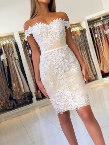 Elegant Short Off-the-Shoulder Formal Evening Gowns with Lace Appliques Mother of The Bride Dresses 99501862