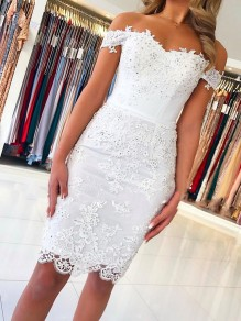 Elegant Short Off-the-Shoulder Formal Evening Gowns with Lace Appliques Mother of The Bride Dresses 99501863