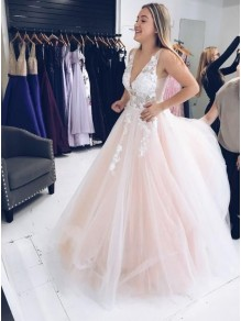 A-Line Sleeveless V-Neck Tulle Long Prom Dresses Formal Evening Gowns 99501869