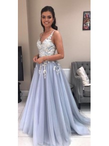 Elegant A-Line Tulle Long Prom Dresses Formal Evening Gowns 99501872