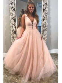 A-Line Tulle V-Neck Long Prom Dresses Formal Evening Gowns 99501890
