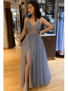 A-Line Beaded Long Prom Dresses Formal Evening Gowns 99501898