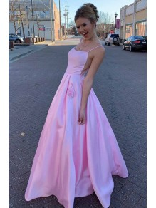 A-Line Spaghetti Straps Satin Long Prom Dresses Formal Evening Gowns 99501927