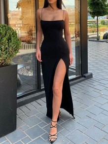 Simple Long Black Spaghetti Straps Prom Dresses Formal Evening Gowns 99501933