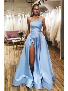 A-Line Satin Long Prom Dresses Formal Evening Gowns 99501949