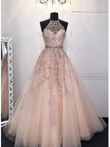 A-Line Beaded Lace Long Prom Dresses Formal Evening Gowns 99501998