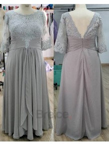 A-Line 3/4 Length Sleeves Lace Chiffon Mother of  The Bride Dresses 99503015