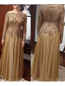 Elegant Long Sleeves Beaded Lace Mother of The Bride Dresses 99503048