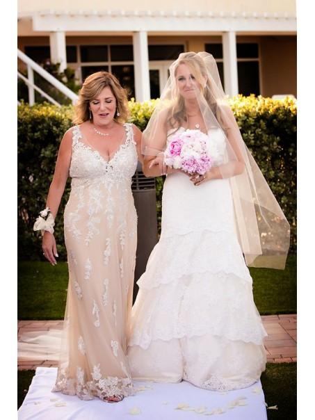 Elegant Lace V-Neck Mother of The Bride Dresses 99503052