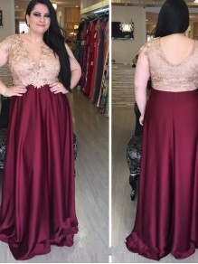 A-Line Beaded V-Neck Long Mother of The Bride Dresses 99503056