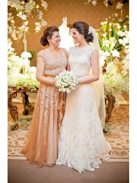 A-Line Lace Long Mother of The Bride Dresses 99503057