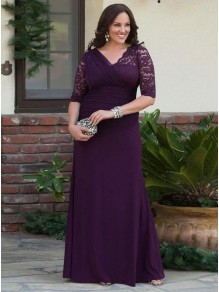 Elegant Lace Chiffon V-Neck Long Mother of The Bride Dresses 99503063