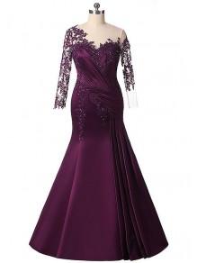 Elegant Mermaid Satin Lace Appliques Mother of The Bride Dresses 99503076