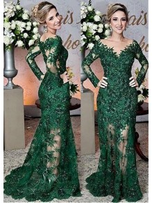 Mermaid Long Sleeves Beaded Lace Mother of The Bride Dresses 99503082