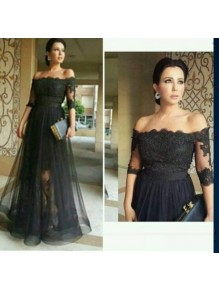 Long Black Off-the-Shoulder Lace Mother of The Bride Dresses 99503091
