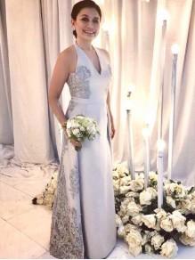 Lace Halter V-Neck Long Mother of The Bride Dresses 99503099