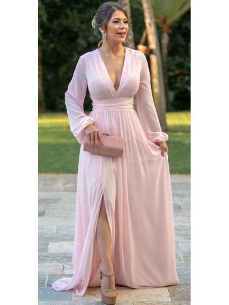 Elegant Chiffon Long Sleeves V-Neck Mother of The Bride Dresses 99503101
