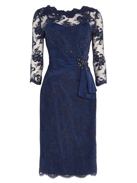 Inexpensive Short 3/4 Length Sleeves Lace Mother of the Bride Dresses 99503107