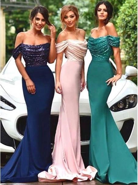 Long Off-the-Shoulder Sequins Wedding Party Dresses Bridesmaid Dresses 99601031