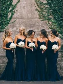 Trumpet/Mermaid Sweetheart Navy Blue Long Wedding Party Dresses Bridesmaid Dresses 99601038