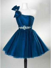 A-Line One-Shoulder Short Blue Wedding Party Dresses Bridesmaid Dresses 99601046