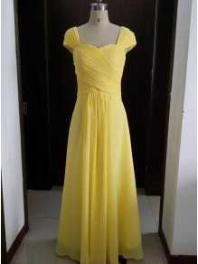 Cap-Sleeves Long Yellow Chiffon Wedding Party Dresses Bridesmaid Dresses 99601095