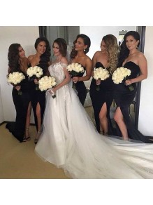 Long Black Side Slit Wedding Guest Dresses Bridesmaid Dresses 99601233