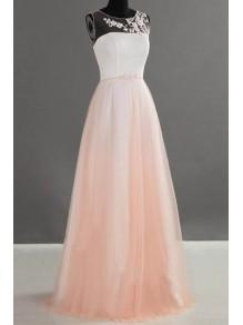 A-Line Illusion Neckline Long Wedding Guest Dresses Bridesmaid Dresses 99601236