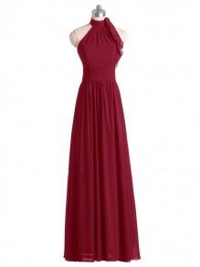 A-Line Halter Burgundy Chiffon Wedding Guest Dresses Bridesmaid Dresses 99601237