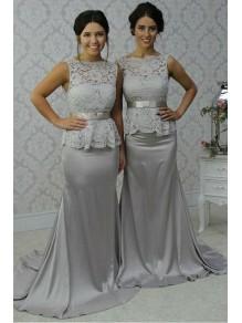 Long Silver Mermaid Lace Wedding Guest Dresses Bridesmaid Dresses 99601251