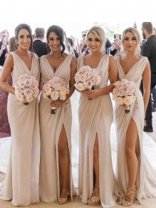 Simple Sheath/Column V-Neck Floor-Length Bridesmaid Dresses 99601274