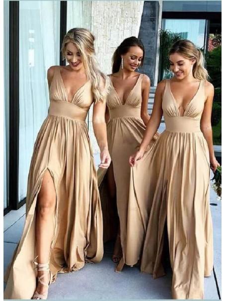 A-Line Floor Length V-Neck Long Bridesmaid Dresses with Slit 99601275