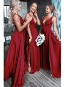 A-Line Floor Length V-Neck Long Bridesmaid Dresses with Slit 99601276