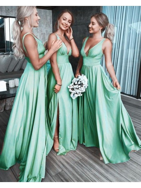 A-Line Floor Length V-Neck Long Bridesmaid Dresses with Slit 99601279