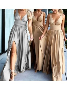 A-Line Floor Length V-Neck Long Bridesmaid Dresses with Slit 99601280