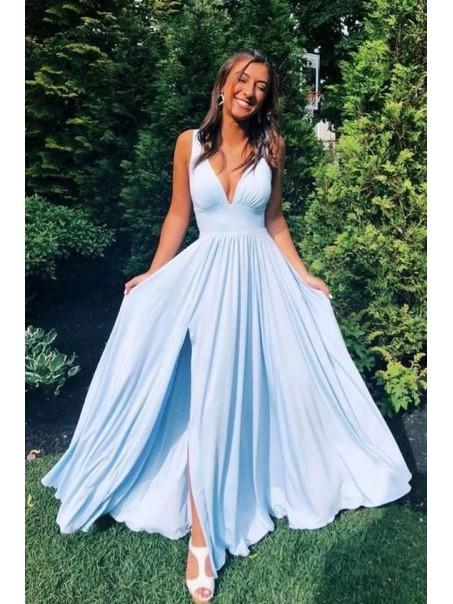 A-Line Floor Length V-Neck Long Blue Bridesmaid Dresses with Slit 99601281