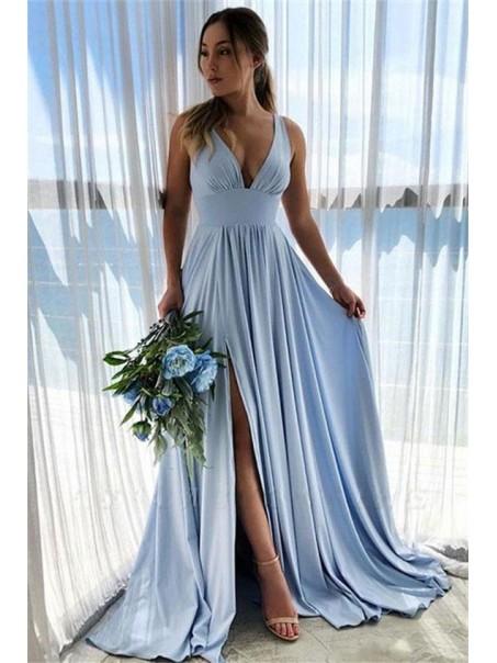 A-Line Floor Length V-Neck Long Bridesmaid Dresses with Slit 99601282