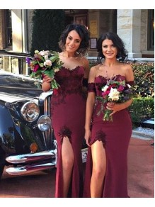Mermaid Off-the-Shoulder Lace Long Bridesmaid Dresses with Slit 99601285