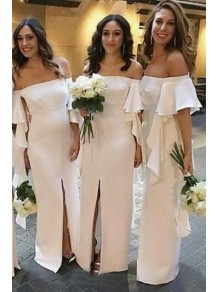 Long White Off-the-Shoulder Bridesmaid Dresses with Slit 99601286