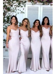 Mermaid Spaghetti Straps Long Bridesmaid Dresses with Slit 99601290