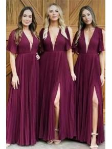 A-Line V-Neck Long Bridesmaid Dresses 99601294