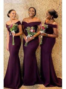 Elegant Mermaid Off-the-Shoulder Long Grape Bridesmaid Dresses 99601296