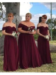 A-Line Off-the-Shoulder Plus Size Long Bridesmaid Dresses 99601297